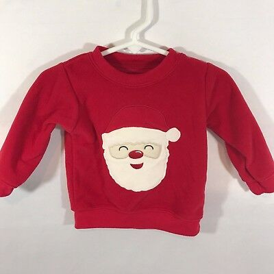 CARTER'S Boys Girls Santa Claus Christmas Long Sleeve Sweater Size 6-9 Mos Red