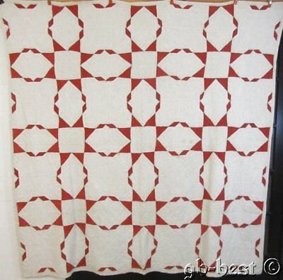 "Americana Red c1880s Feathered Touching STARS Antique Quilt 84"" x80"" lush quiltd"