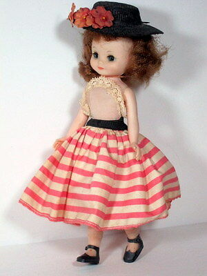 """1950s Fashion doll 8"""" BETSY MCCALL w STRIPED SKIRT, HAT"""