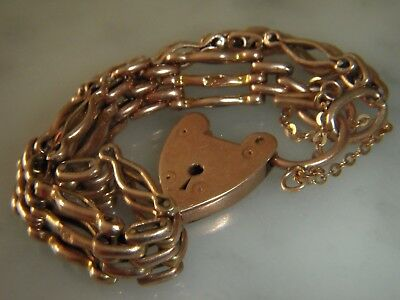 A Beautiful Solid Victorian 9 Ct Rose Gold Gate Bracelet With Padlock Clasp