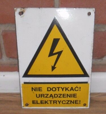 Vintage Enamel Electrical Warning Sign