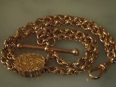 A Superb Victorian 9 Ct Gold Albertine Bracelet With T/bar Clasp