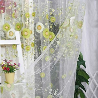 Sheer Scarf Window Tulle 1*2 M Sunflower Voile Curtains Living Room Pattern