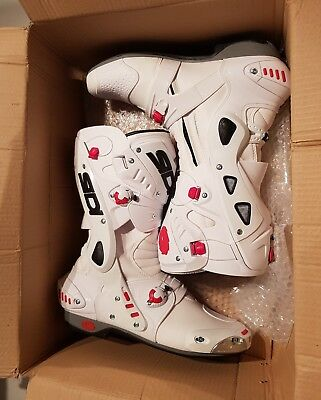 Sidi Vortice Motorcycle Boots Breathable Vented Race Sport WHITE UK12