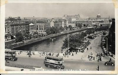 Old Postcard The River Liffey New Bus Station Dublin Ireland