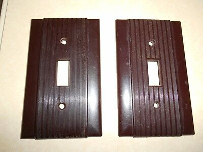 2 Vintage MCM Uniline Brown Bakelite? Ribbed SWITCH PLATE COVERS USA Made