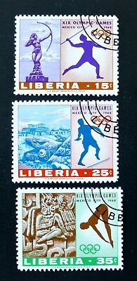 1968 LIBERIA OLYMPIC GAMES [3 STAMP SET] Mi:LR 706A-708A GOOD USED