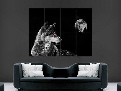 Wolf Eyes Poster Abstract Evil The Moon Nature Predator  Wall Nature Art Print