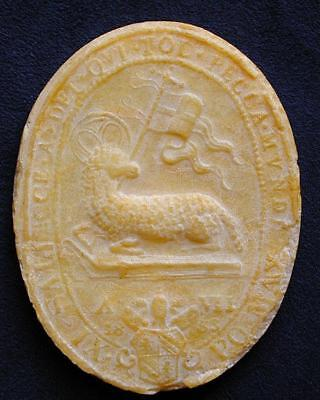 """RARE AND HUGE AGNUS DEI WAX BLESSED BY POPE PIUS IX  3"""" 1/4 Tall Dated 1853"""