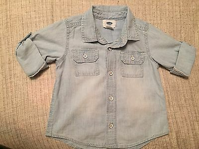 Baby Light Chambray Denim Button Down 18-24 Months Old Navy