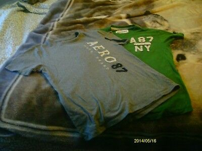 2 Aeropostale t-shirts small gray and green