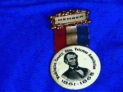 Antique Pin,ribbon,Badge-Abe Lincoln celluloid-Washington Co OH-Veterans Assoc.