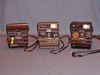 Lot of Three Polaroid 600 Cameras - Onestep, Onestep Closeup, Sun Autofocus 660
