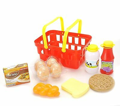 Pretend Play Breakfast & Lunch Play Food Set With Basket-Kid pretend food PS117