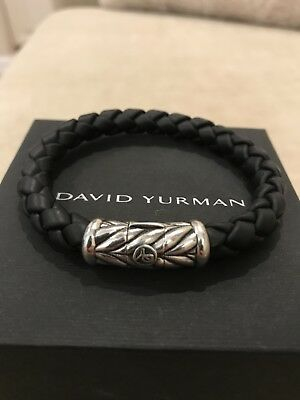 "New DAVID YURMAN 8mm  8"" Black Rubber & Silver Chevron Clasp Bracelet."