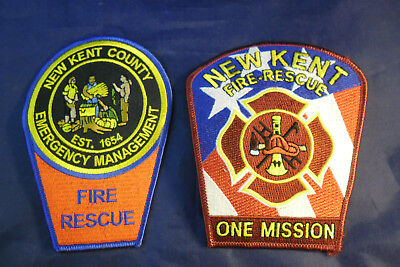 New Kent County, Virginia Fire Department Patches; New, Never Sewn On; Lot of 2