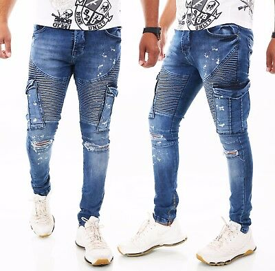 Herren Jeans Hose Slim Fit Men´s Wear Destroyed Risse ZIP W29 30 31 32 33 34 36