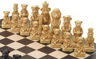 rare and beautifully interesting novelty teddy bear family chess set game pieces