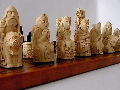 interesting heavy medieval / isle of lewis style chess set chessmen game pieces