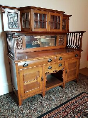 Victorian Oak Sideboard / Side Cabinet / Dining Server / Dresser. Art Nouveau.
