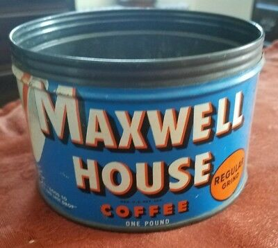 Vintage MAXWELL HOUSE Coffee Advertising Tin Can! Key Opened! One Pound!