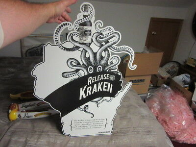 New Kraken Black Spiced Rum Octopus Die Cut Wisconsin Bar Sign Beer Pub Man Cave