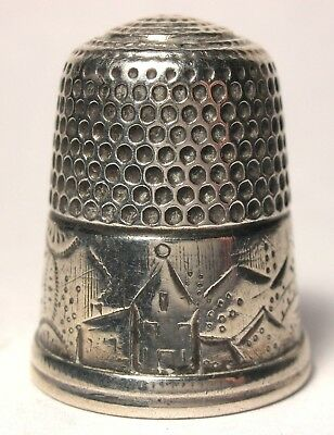 Early Simons Sterling Scenic Thimble w/ Church, Bridge & House Size 10 c.1880s