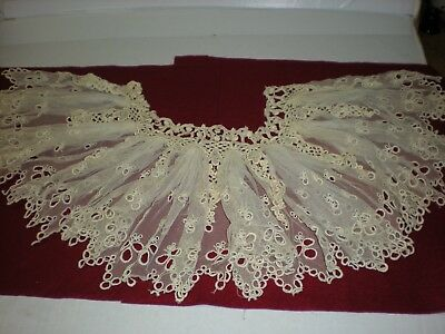 Antique Vintage  Lace Ecru Spectacular Unusual  Ruffled Collar Hand Stitched
