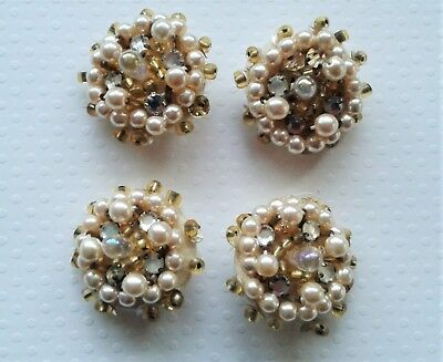 Four Vintage Pearl And Glass Bead Buttons Set