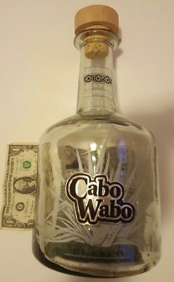 3 Liter CABO WABO Tequila Bottle Huge with Wood and Cork Stopper  Nice piece