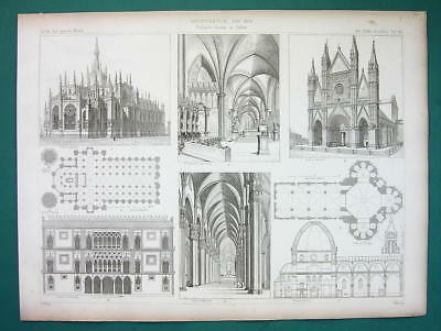 ARCHITECTURE PRINT 1864 - Italy Gothic Cathedrals Duomo Milan Venice Casa d'Oro