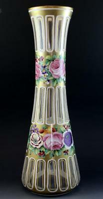 Large C1910 Bohemian Moser Enameled Art Glass Vase Hand Painted Flowers No Res