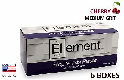 6 BOXES ELEMENT Prophy Paste Cups CHERRY MEDIUM 200/Box  Dental W/Flouride