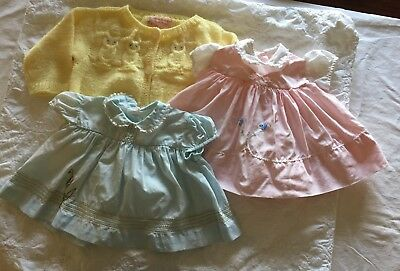 Lot Of 3 Vintage Baby Girl Toddler Clothes, Dresses, Handmade Owl Sweater