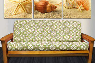 New Green White Flower Futon Cover Full Size Tropical Modern Fl