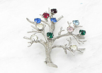 925 Sterling Silver - Vintage Antique Finish Tree Of Life Gemstone Brooch Pin 9g