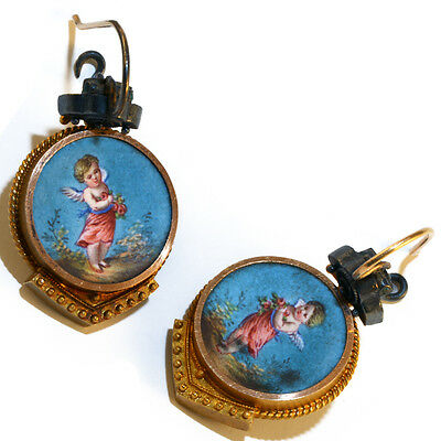 antique MUSEUM Quality..15K...CHERUB....HAND-PAINTED EARRINGS