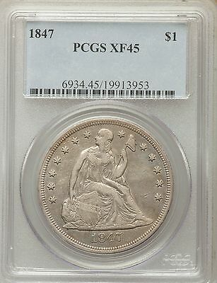 1847 Seated Liberty Silver Dollar PCGS XF45 - VERY NICE! (13953)