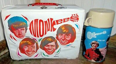 VERY RARE Monkees TV Show Lunch box & Metal Glass Thermos Music Group Lunchbox!