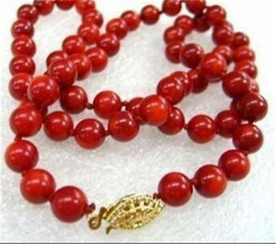"""Long 36"""" 6-7mm Genuine Natural Japan Red Coral Gems Round Beads Necklace AAA"""