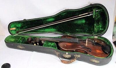 Antique Stainer Violin 4/4 Size In Case With Glasser Bow