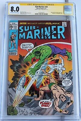 SUB-MARINER #34 CGC SS 8.0 1ST DEFENDERS STORY Signed by Roy Thomas