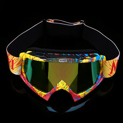 Yellow Motocross Goggles Off Road Dirt Colorful Lens ATV Off Road Racing Adult