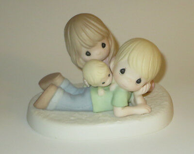Family Precious Moments Figurine Mom Dad Baby New with Defect No Box