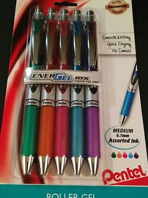 Pentel EnerGEL Liquid Gel 0.7mm  Med. point Metal Tip Pens - 5 Pack Assorted Ink
