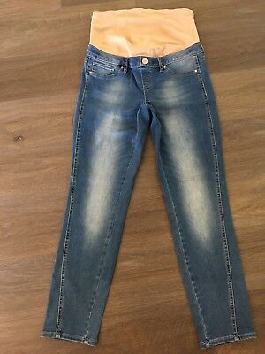 Ladies size 8 Blue JEANSWEST Maternity Girlfriend Jeans Belly Band -*As New*