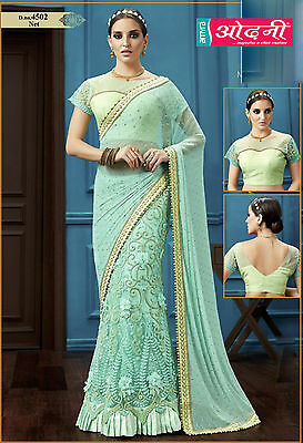 Indian Bollywood Eid Special Embroidered Sea Green Color Party Wear Saree Sari