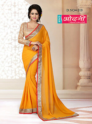 Indian Bollywood Embroidered Party Wear Mustard Georgette Designer Saree Sari