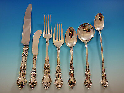 Meadow Rose by Wallace Sterling Silver Flatware Set for 12 Service 90 Pieces