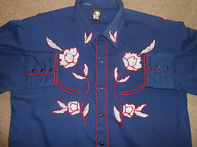 """VTG~KARMAN~Mens WESTERN~EMBROIDERED ROSES~RODEO~Cowboy Shirt~PinkSNAPS~44""""CHEST"""